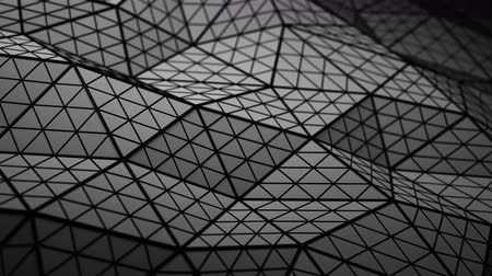 subdivided : Distorted black low poly shape. Futuristic polygonal structure with lines. Modern abstract motion background. Seamless loop 3D render animation 4k UHD 3840x2160