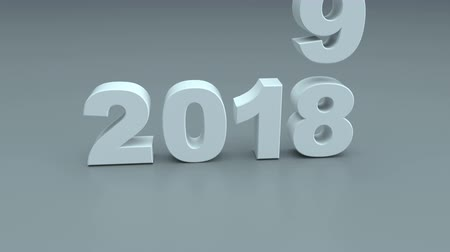 quebrado : New year 2019 replacing 2018. 3D render animation 4k UHD 3840x2160 Vídeos