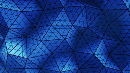 subdivided : Blue distorted low poly shape. Futuristic polygonal structure with lines. Modern abstract motion background. Seamless loop 3D render animation 4k UHD 3840x2160 Stock Footage