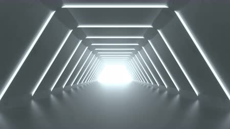 tunel : Modern corridor. Abstract science fiction concept. 3D render seamless loop animation 4k UHD (3840x2160) Wideo