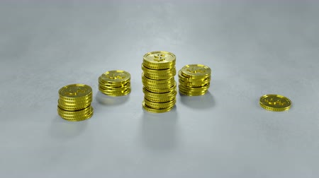 входящий : Growing stack of gold coins. Financial success concept. 3D render animation 4k UHD 3840x2160
