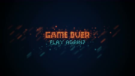 arcades : Game over phrase in pixel art 8 bit retro style with glitch effect. Seamless loop animation 4k 4096x2304