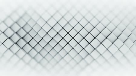 focus on : Wall of white rhombus shapes. Abstract motion background. 3D render seamless loop animation