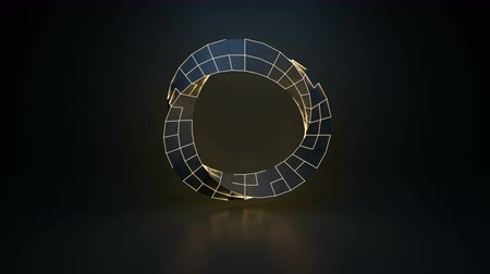 Twisted ring shape with glowing edges. Futuristic sci-fi concept. Seamless loop 3D render animation 4k UHD 3840x2160