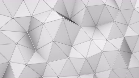 треугольник : Distorted low poly construction with lines on edges. Modern abstract motion background. Seamless loop 3D render animation 4k UHD (3840x2160) Стоковые видеозаписи