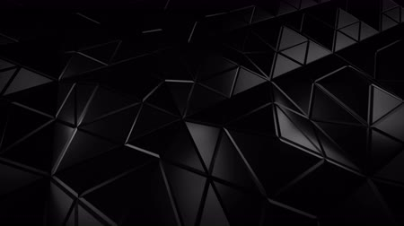 pyramidal : Low poly black construction with sharp edges. Abstract modern 3D render. Seamless loop animation 4k UHD 3840x2160