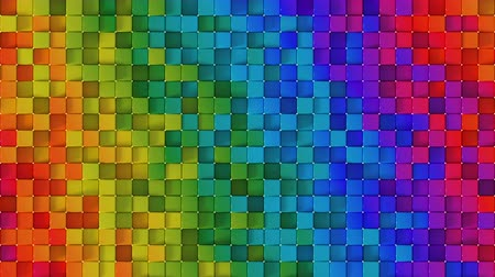 extrude : Waves of color on cubes surface. Computer generated abstract motion background. Seamless loop 3D render animation Stock Footage