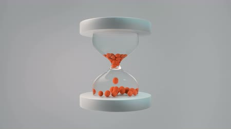 klepsydra : Simple trendy hourglass with small orange bouncing balls. Cartoon style business concept. Seamless loop 3D render animation 4k UHD 3840x2160