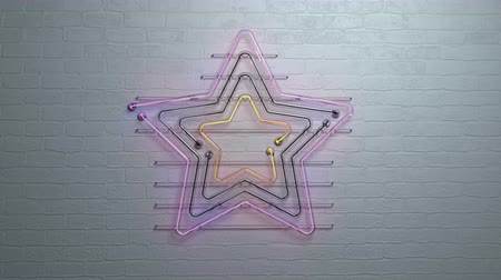 éjszakai élet : Zoom out of neon light star on brick wall. The last 5 seconds are seamless loop. 3D render animation