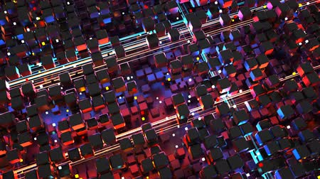 izzás : cubes and glowing big data streams. Futuristic technology or science fiction concept. Seamless loop 3D render animation