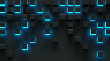 extrude : Glowing blue cubes. Futuristic technology concept. Seamless loop 3D render animation