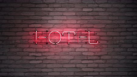 karczma : Hotel neon sign on brick wall. 3D render seamless loop animation