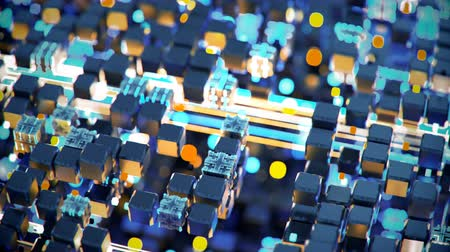 sinais : Blue and orange cubes and glowing streams. Futuristic information technology or science fiction concept. Seamless loop 3D render animation Stock Footage