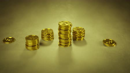 входящий : Growing stack of gold coins. Finance earning income concept. 3D render animation Стоковые видеозаписи