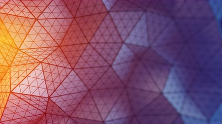 geometryczne : Low poly triangulated surface. Futuristic polygonal shape with lines. Contemporary abstract motion background. Seamless loop 3D render animation 4k UHD 3840x2160