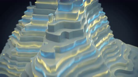 terénní : Low poly topographic map with glowing edges. Abstract futuristic design. 3D render animation