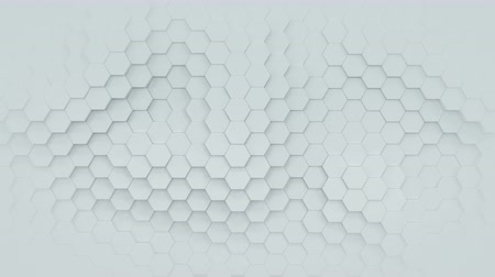 hexágono : White hexagonal pattern. Computer generated motion graphics. 3D render loopable animation