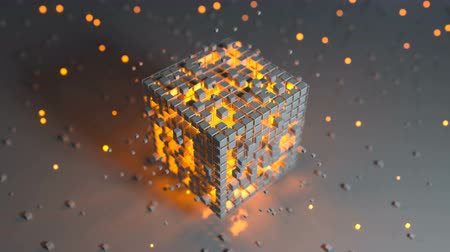 camsı : Cube with yellow glowing blocks. Abstract sci-fi concept. Seamless loop 3D render animation Stok Video