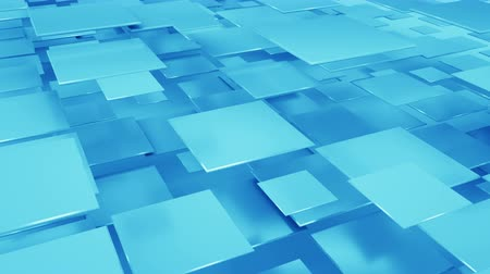 sobreposição : Flying blue squares abstract geometric background. Seamless loop 3D render animation 4k UHD 3840x2160
