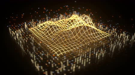 mesh : Wave graph in perspective view. Science fiction design. Seamless loop 3D render animation with depth of field Stock Footage