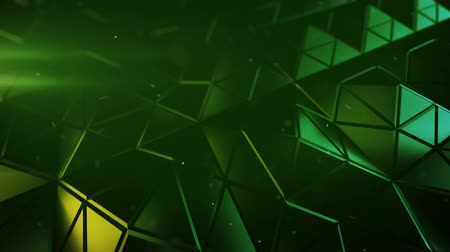 pyramidal : Triangulated green surface in dynamic light. Abstract 3d rendering of of modern low poly shape. Seamless loop animation 4k UHD 3840x2160 Stock Footage