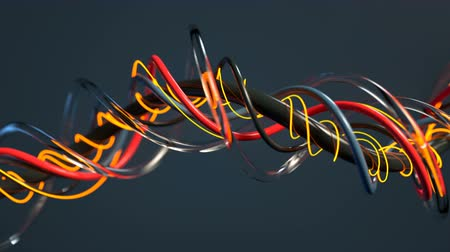 컬 : Futuristic twisted cables. Abstract sci-fi design. Seamless loop 3D render animation with DOF