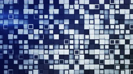 extrude : Tile of white and blue boxes. Abstract geometric background. 3D render seamless loop animation 4k UHD 3840x2160