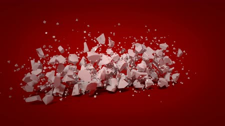 separação : White love text on red background is shattering. Broke up or cardiac disease concept. 3D render slow motion animation