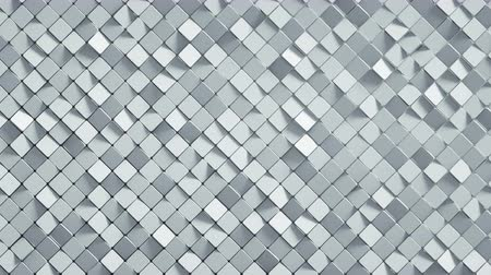 rhombic : White rhomb mosaic surface. Abstract motion background. 3D render seamless loop animation 4k UHD 3840x2160
