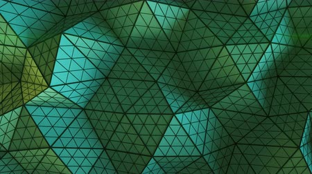 subdivided : Green low poly triangulated shape with subdivided polygons. Futuristic abstract distorted construction. Seamless loop 3D render animation 4k UHD 3840x2160