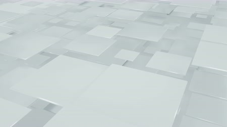 sobreposição : Flying white squares abstract geometric background. Seamless loop 3D render animation 4k UHD 3840x2160