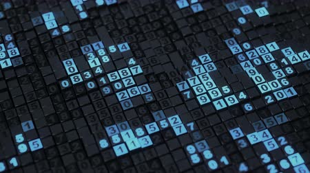 kód : Blue numbers on cubes. Seamless loop 3D render animation with DOF