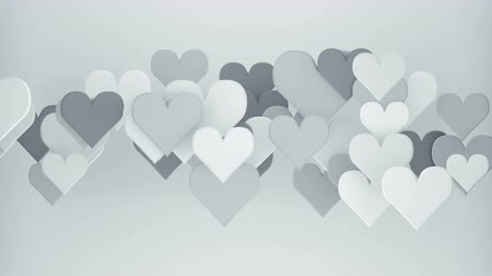 metaphor : White heart shapes. Abstract romantic concept. 3D render seamless loop animation 4k UHD 3840x2160