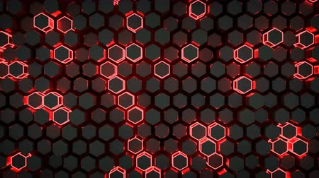 tekno : Wall of glowing red hexagons. Futuristic technology concept. Seamless loop 3D render animation 4k UHD 3840x2160 Stok Video