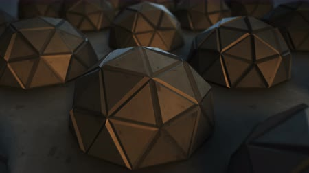 многоугольник : Array of futuristic shapes. Abstract modern technology or science fiction concept. 3D render of low poly hemispheres. Seamless loop smooth animation rendered with depth of field 4k UHD (3840x2160)