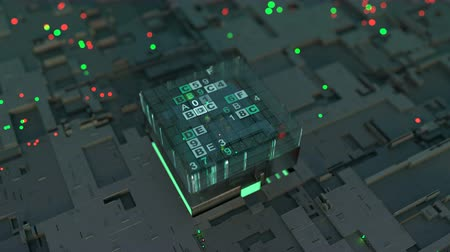 digitális tábla : CPU is sorting data flow. Futuristic technology design. Seamless loop 3D render animation with DOF