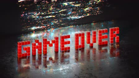 videogame screen : Game over phrase in pixel art 8 bit retro style with glitch effect. Seamless loop 3D render animation