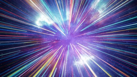 hyperspace : Hyper jump flight in space. Computer generated abstract motion background. Seamless loop 3D render animation Stock Footage