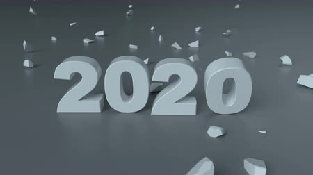 shattering : Text 2020 is shattering 2019. New year celebration. 3D render animation