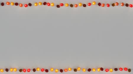christmas dekorasyon : Red rotang string lights and free space. Abstract festive template. Seamless loop 3D render animation Stok Video