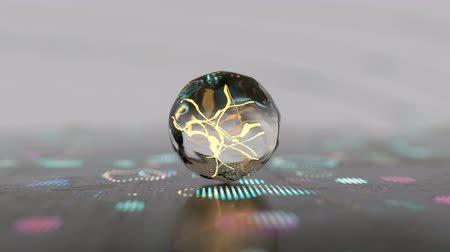 elektron : Deformed specular sphere. Molecular physics or chemistry concept. Seamless loop 3D render animation with DOF