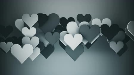 metafoor : Grey heart shapes. Abstract romantic concept. 3D render seamless loop animation 4k UHD 3840x2160 Stockvideo