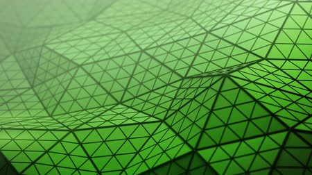 subdivided : Distorted green low poly shape. Futuristic polygonal structure with lines. Modern abstract motion background. Seamless loop 3D render animation 4k UHD 3840x2160 Stock Footage