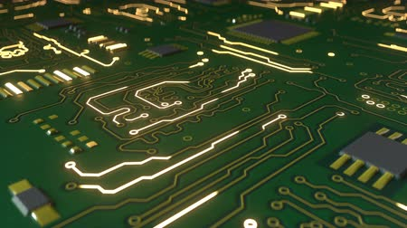 интегрированный : Green circuit board with bokeh. Computer science or electronic concept. Seamless loop 3D render animation
