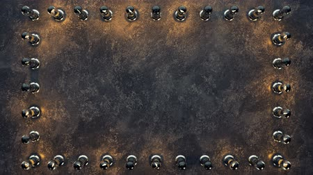 marquee : Blank frame of flashing lightbulbs on concrete wall. Computer generated seamless loop abstract motion background. 3D render animation 4k UHD 3840x2160 Stock Footage