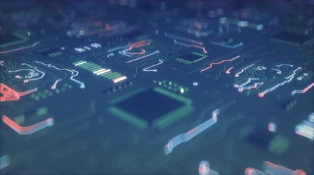 интегрированный : Circuit board conducts electric current. Electrical conductivity concept. Seamless loop 3D render animation