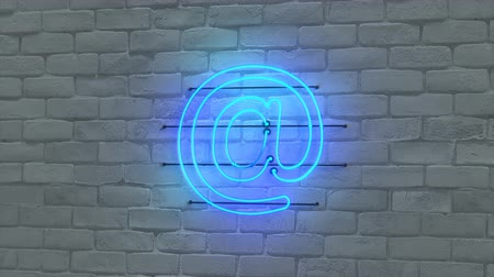 e mail address : Blue neon light email symbol. Internet or electronic mail concept. Seamless loop 3D render animation Stock Footage