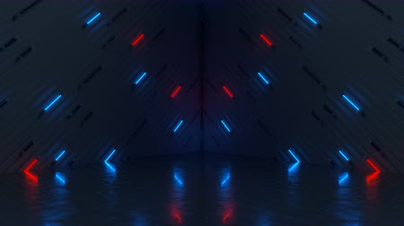 fluorescent : Glowing blue and red neon tubes. Computer generated abstract motion background. Seamless loop 3D render animation