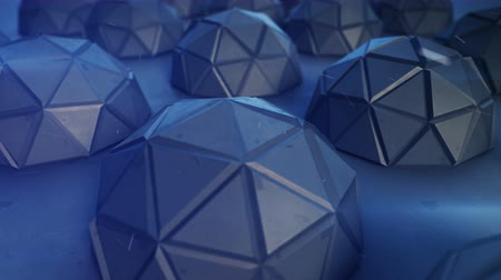 hemisfério : Flight over polygonal blue metallic hemispheres. Abstract science fiction concept. Seamless loop 3D render animation 4k UHD 3840x2160 Stock Footage