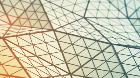 subdivided : Low poly triangulated surface. Futuristic polygonal shape with lines. Contemporary abstract motion background. Seamless loop 3D render animation Stock Footage